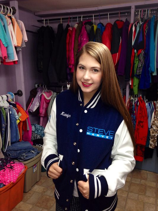 Katelyn Darrow wears the jacket she got on the show.